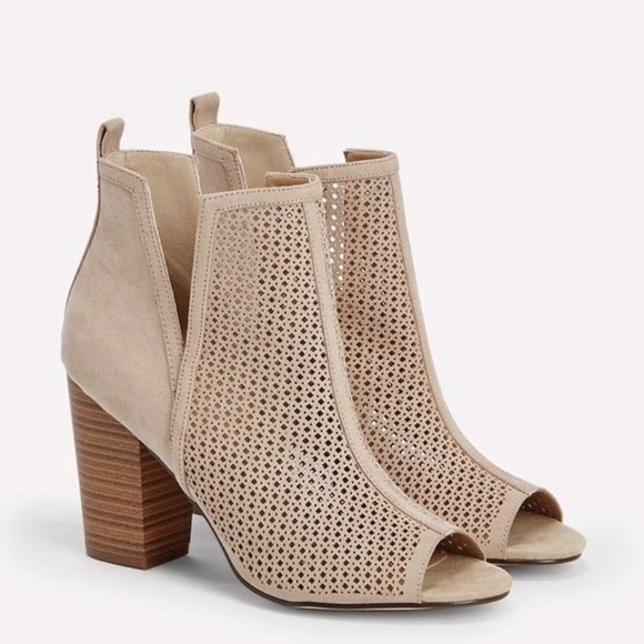 JustFab Shoes - Just fab taupe pep-toe bootie